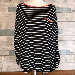 Ana boatneck coral black striped top 3X       0221